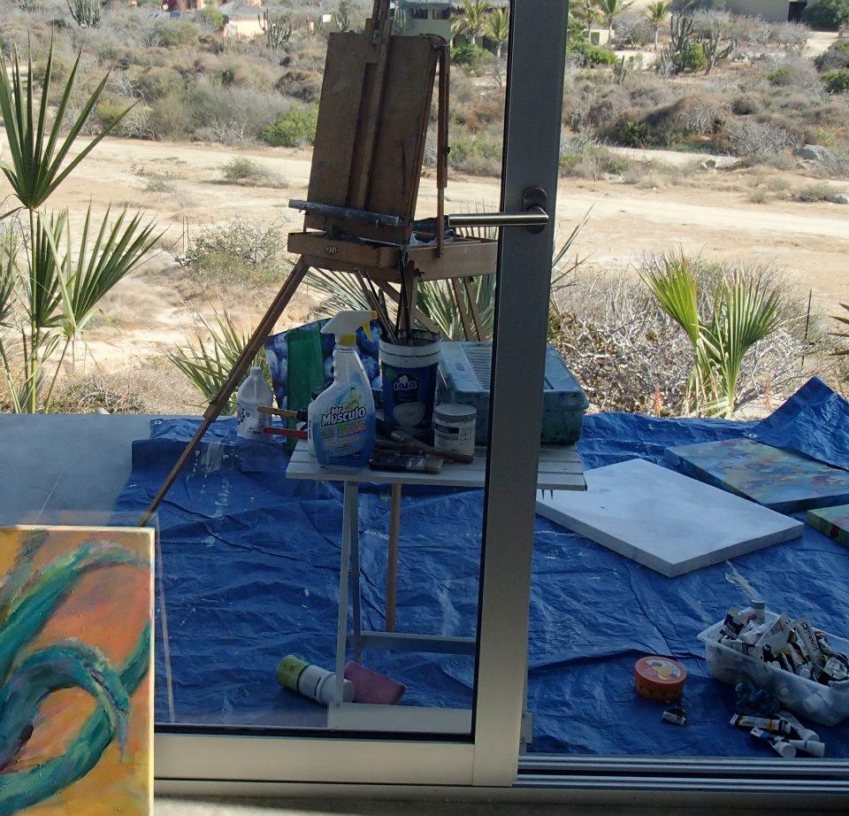 My art studio on the deck in the Baja desert
