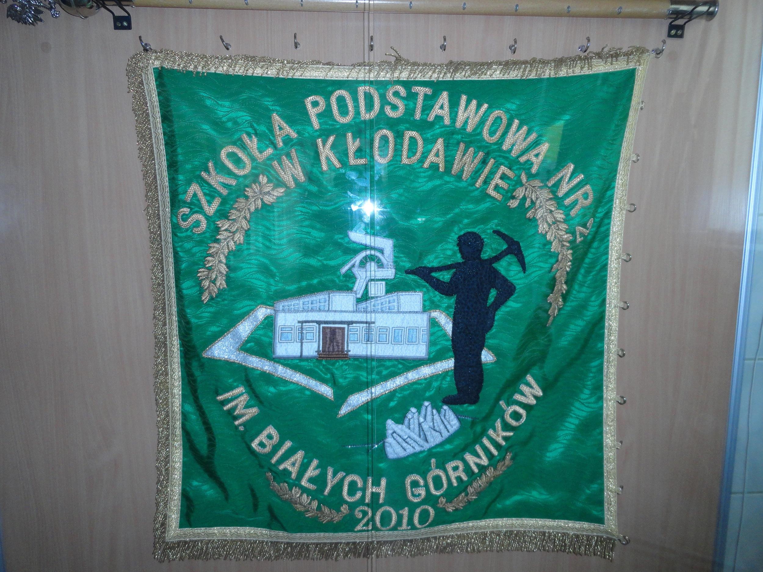 School banner -- Kłodawa is home to Poland's largest salt mine.
