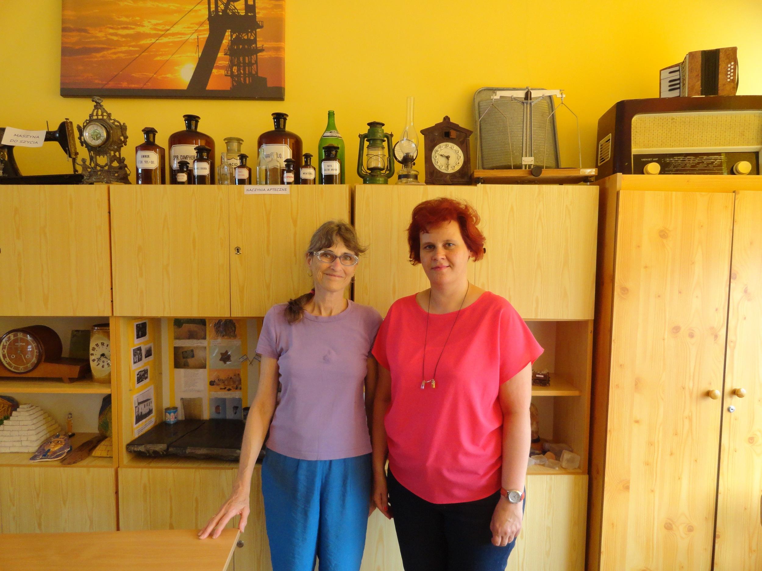 Ywona Kucharska and me in front of Jewish niche in history room.