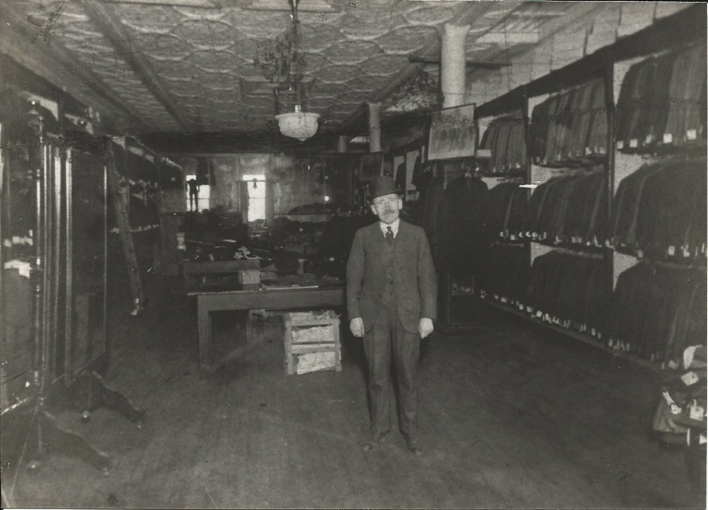 Morris Miller in the Miller Bros. store, Pitkin Avenue, Brownsville, 1915