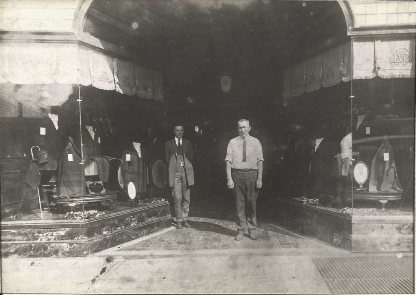 Morris Miller in front of Miller Bros., Pitkin Avenue, Brownsville 1927