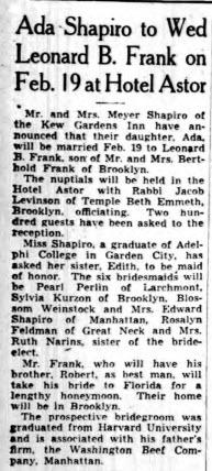 Ada Honey Miller Shapiro Frank LI Daily Press 23 Jan 1939