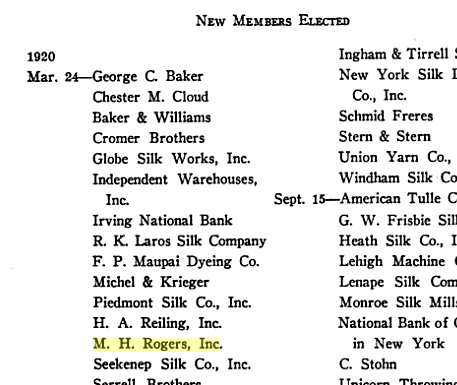M.H. Rogers elected to Silk Association, 1920