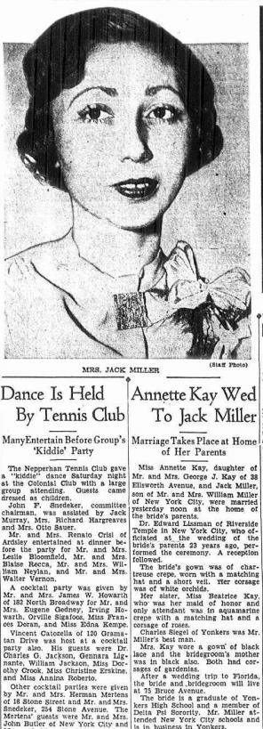 Annette Mondschein Kay Wedding, Yonkers Herald 31 Jan 1938
