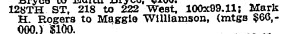 Mark Rogers sale of 128th St. NYT 28 Dec 1909
