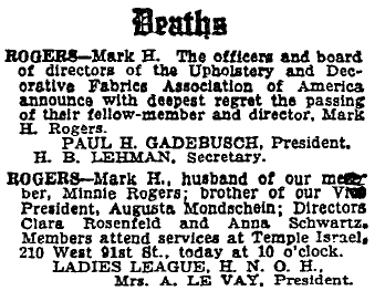 Mark Rogers obituary. NYT 23 April 1934