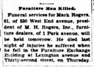 Mark Rogers obituary. Sun 23 April 1934