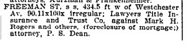 Foreclosure of Freeman St property, NYT 8 Feb 1907