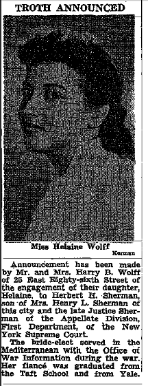 Helaine Wolff, granddaughter of Jennie Samilson, marriage. 17 Sep 1947