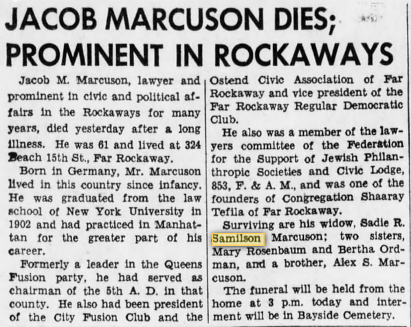 Jacob Marcuson, husband of Sadie Samilson, obituary. Brooklyn Daily Eagle 28 Sept 1942