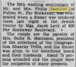 Philip H and Rose Samilson, Brooklyn Daily Eagle 17 Jul 1932