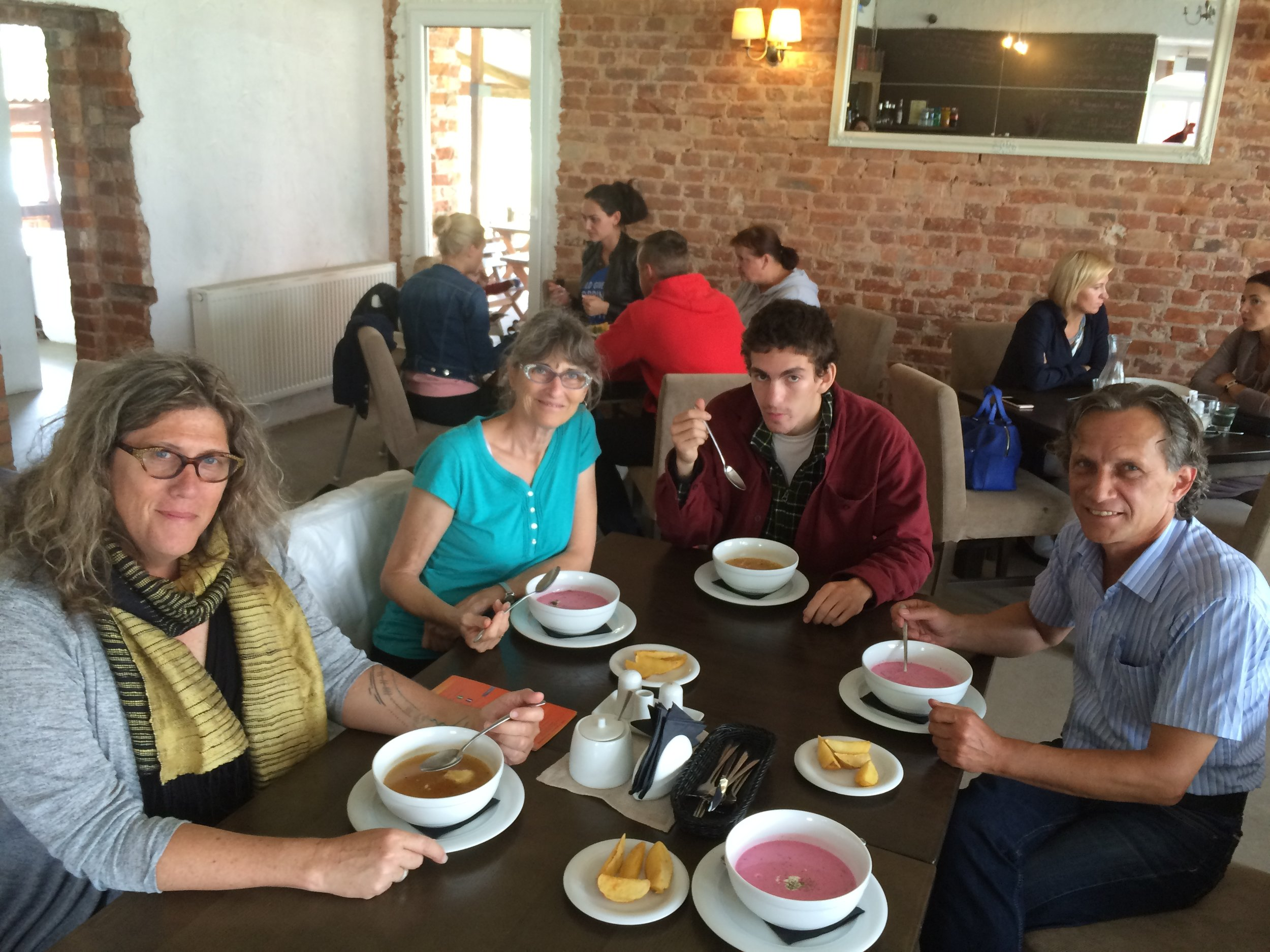 Eating lunch at Taurų Nuotykių Parkas. The borscht in Lithuania and Belarus was simply outstanding.