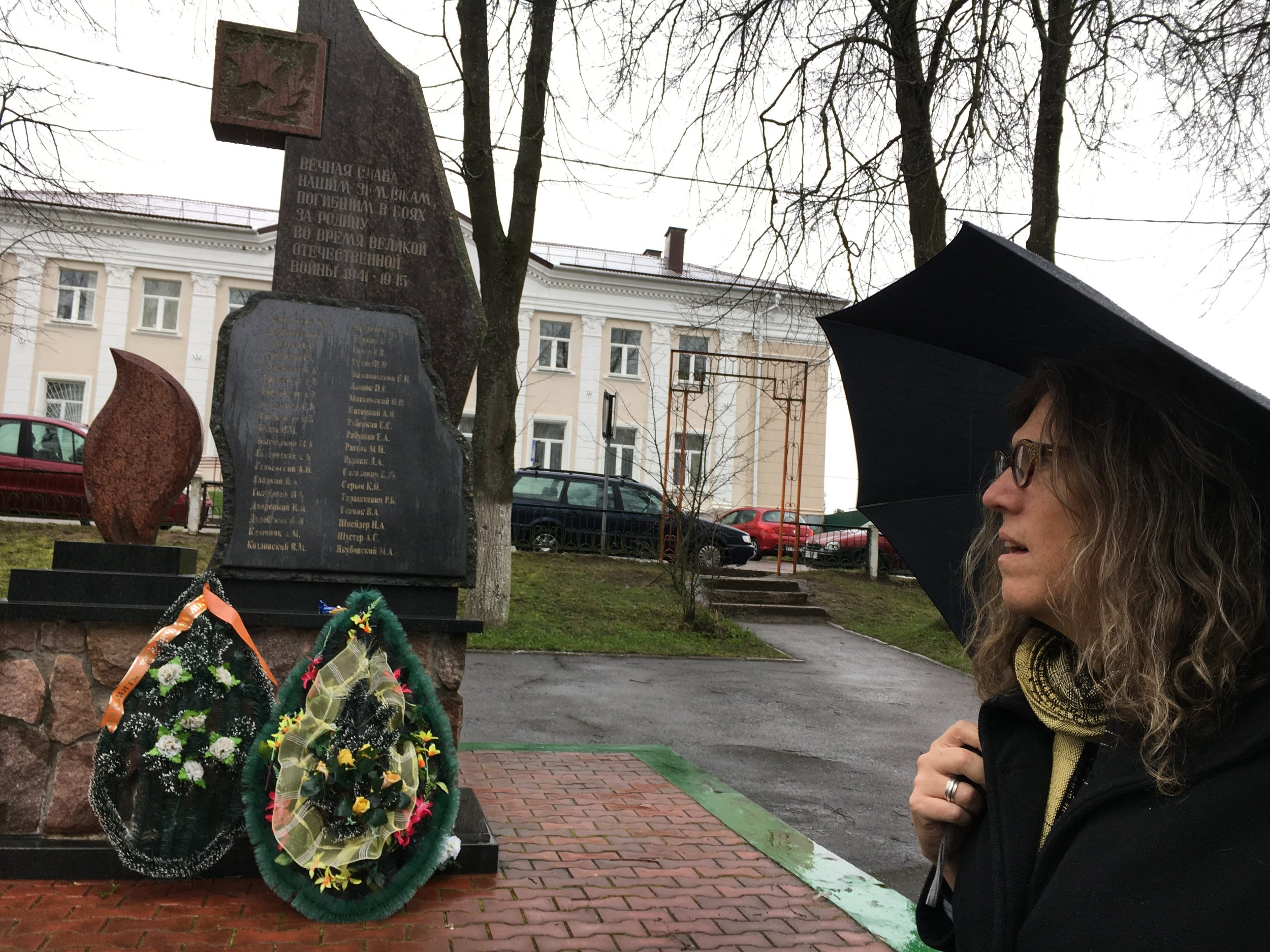 My partner Susan viewing the memorial to local men killed in WWII, a feature found in most Belarusian towns we visited.