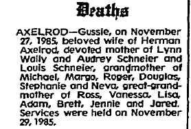 Axelrod, Gussie obit.png