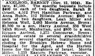 Axelrod, Barnet probate NYT 7 Feb 1925.png