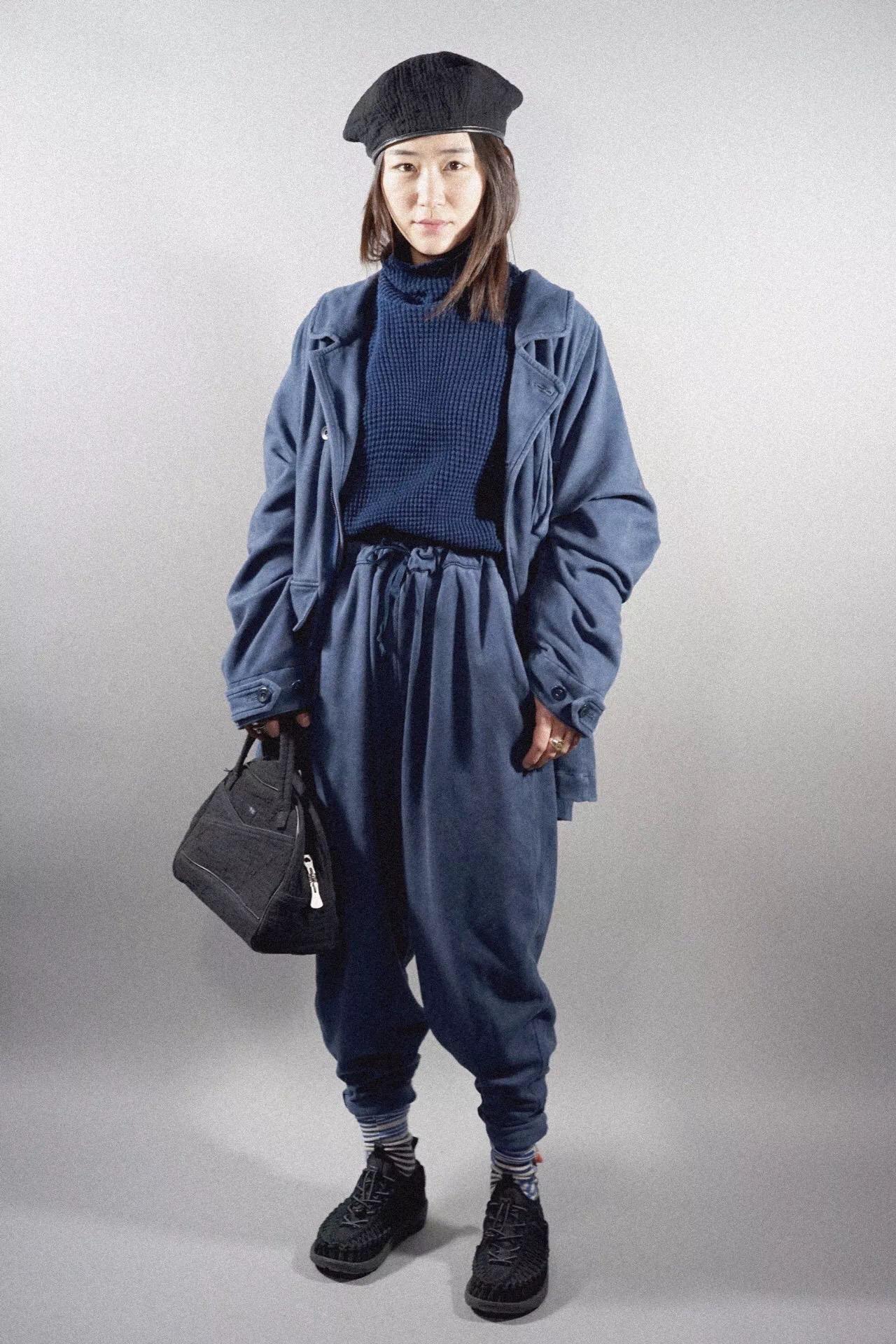 PC - AGING JACKET - BLUE PC - FRENCH THERMAL TURTLENECK - BLUE PC - AGING PANTS - BLUE PC - SASHIKO HAND BAG - PLATINUM RIVETS - BLACK
