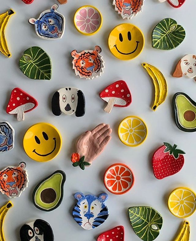 FRESH restock of fun ceramics from our very own @smoceramics 🥑🍌🍓🍃🙂🐶