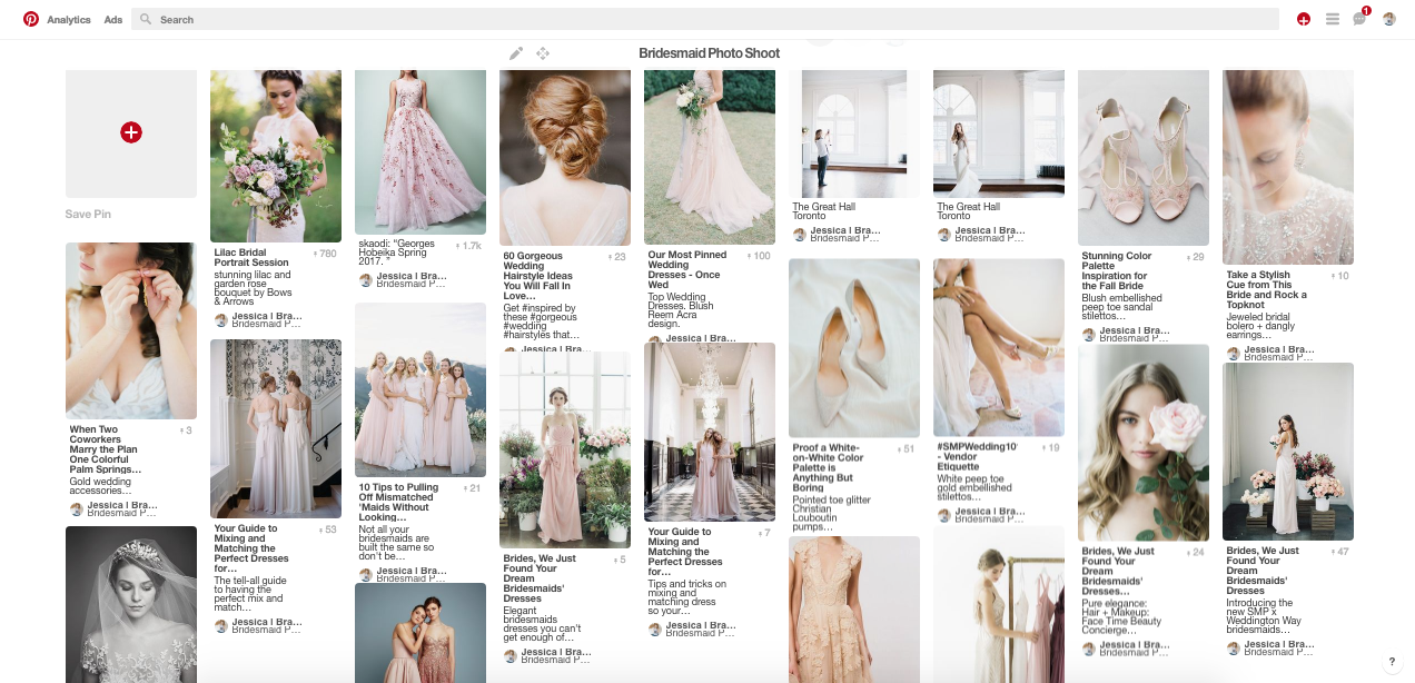An example of inspiration images saved for a bridal photo shoot.