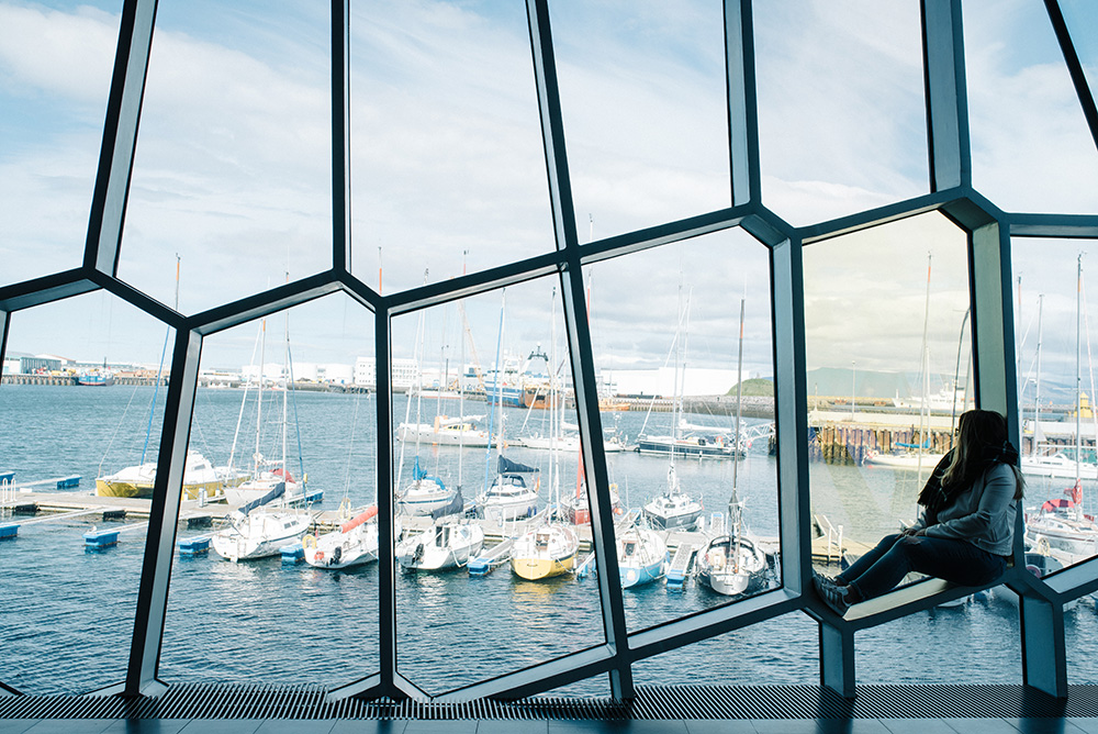 The view from inside Harpa Concert Hall