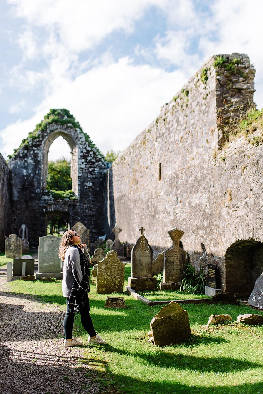 Graveyard outside Cork, Ireland, below abandoned castle and Saint Finbarre's Church