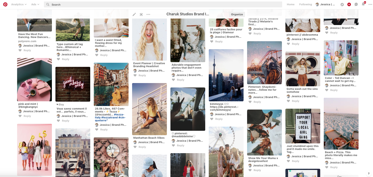 Screen shot of my Pinterest board