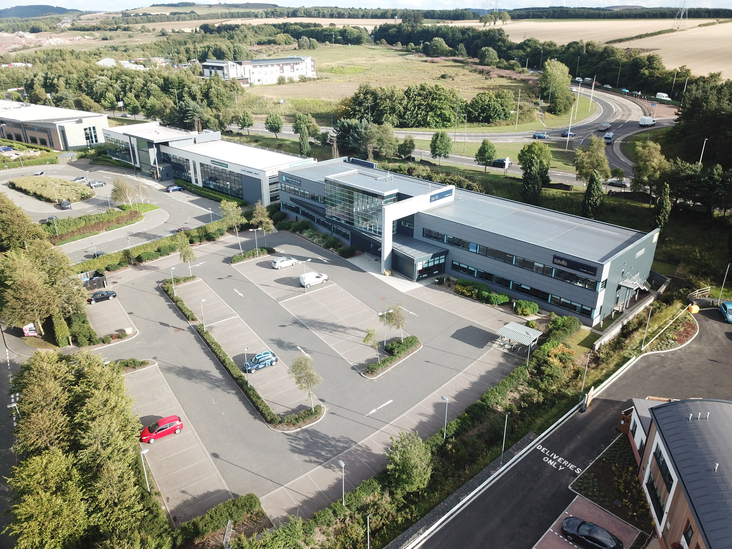 Aerial view of Earn House with Broxden Roundabout to rear