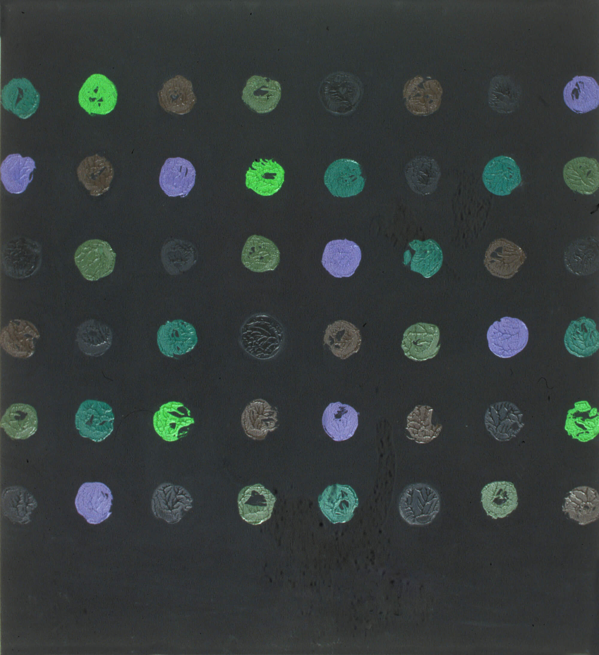 No title, 122 x 112 cm. Oil tempera on aluminum sheet, 2002