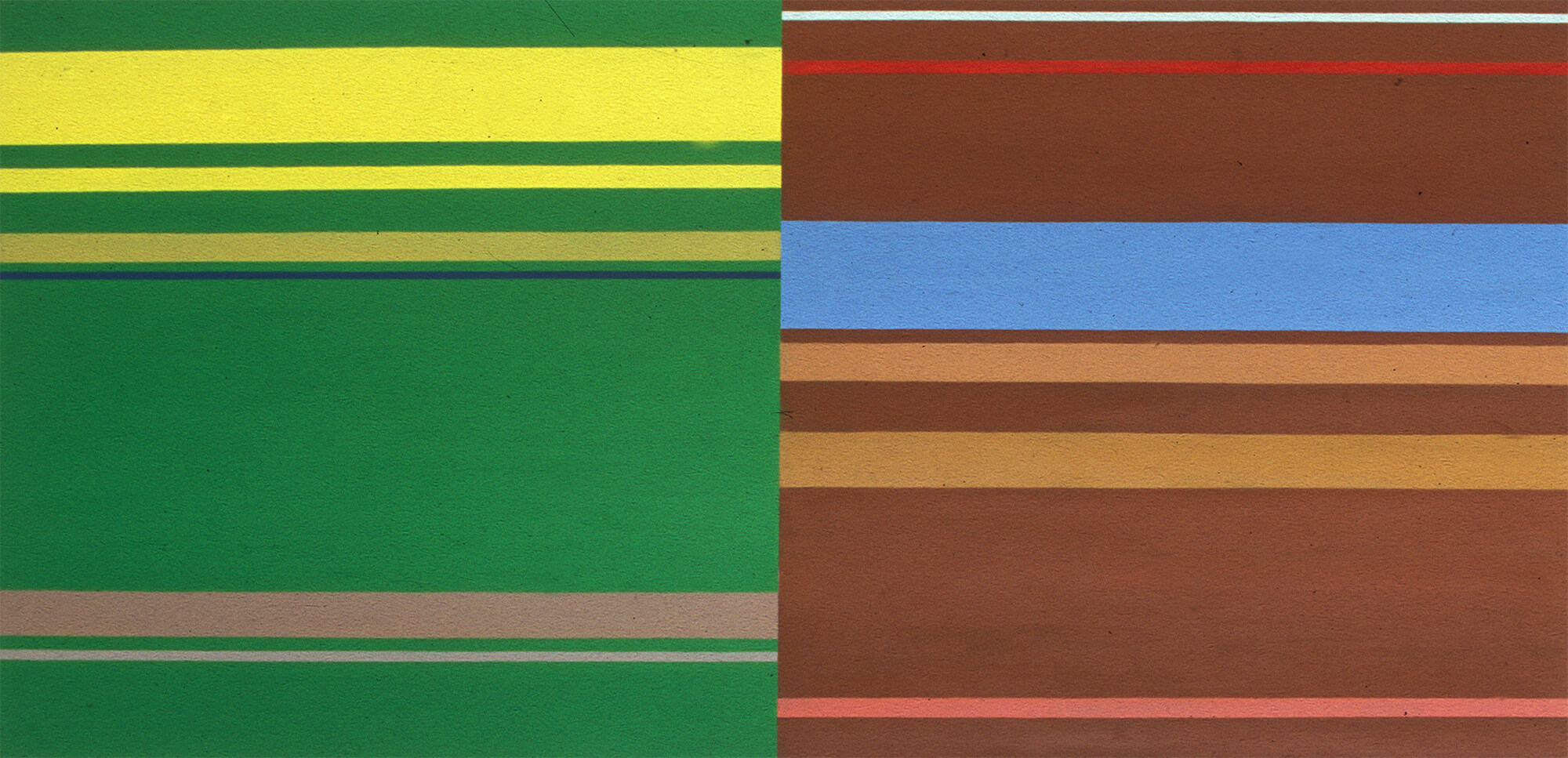 No title. Oil tempera on aluminum sheet, 62 x 118 cm, 2001