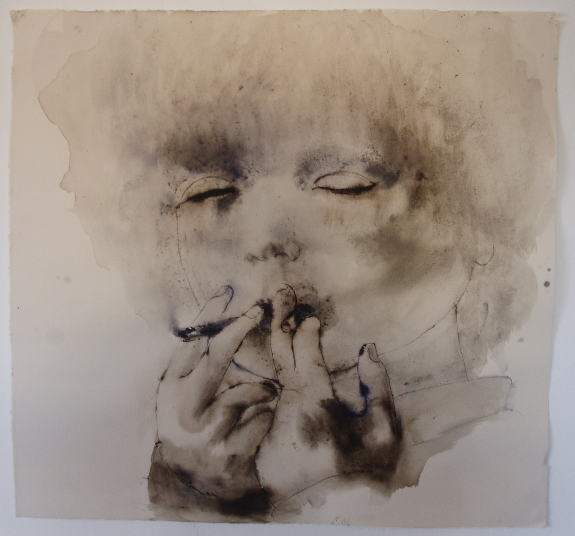'Smoke' 68 x 66cm Ink and watercolour on paper Private Collection