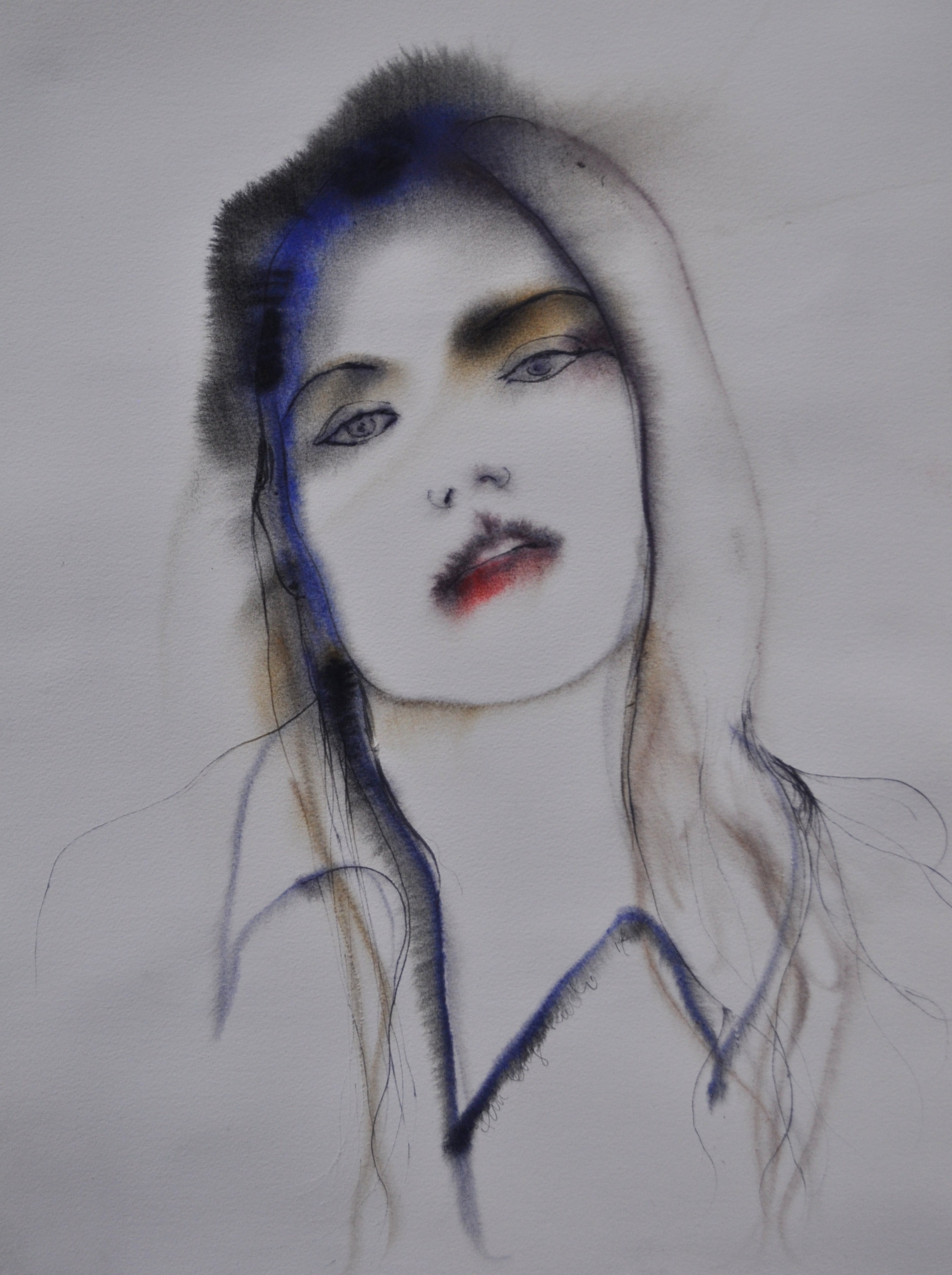 ;Actress' 45x 65 cm Ink and watercolour on paper  Private collection