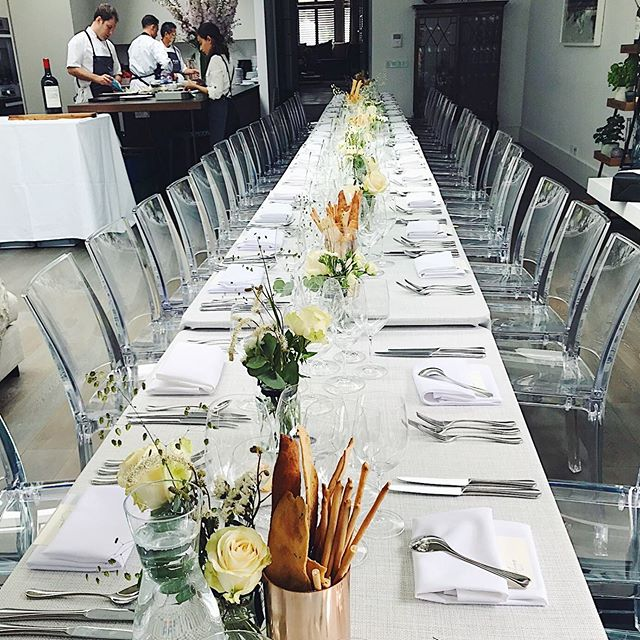 Clear, crisp lines w/ ghost chairs + @riedeluk glasses, balanced out by 'perfectly imperfect' grissini and free formed, ethereal flowers 🙏🏻@graceandthorn  It is so important to us to get the #tablescaping right + we design it to fit within our client's home as if we had always been there.  It means our clients and their guests get the @_pureindulgence experience of attention to detail and the feeling of being completely looked after, without a glimpse of stiffness, so that everyone can just relax and be present with each other to focus on what truly matters.  #effortlessentertaining - Victoria + Jonty x #mindfuleating #friendsandfood #pureindulgencecatering 🍽 @couverthire @classiccrockery 🍷 @riedeluk 🌾 @graceandthorn 👨🏻🍳 @chefjontyfranks 💡 @_pureindulgence  __________________________________ #londoncaterer #londoneventplanner #fulham #chelsea #sustainablecatering #husbandandwifeteam #dinnerparty #athomeevents #privatecatererlondon #dininginspo