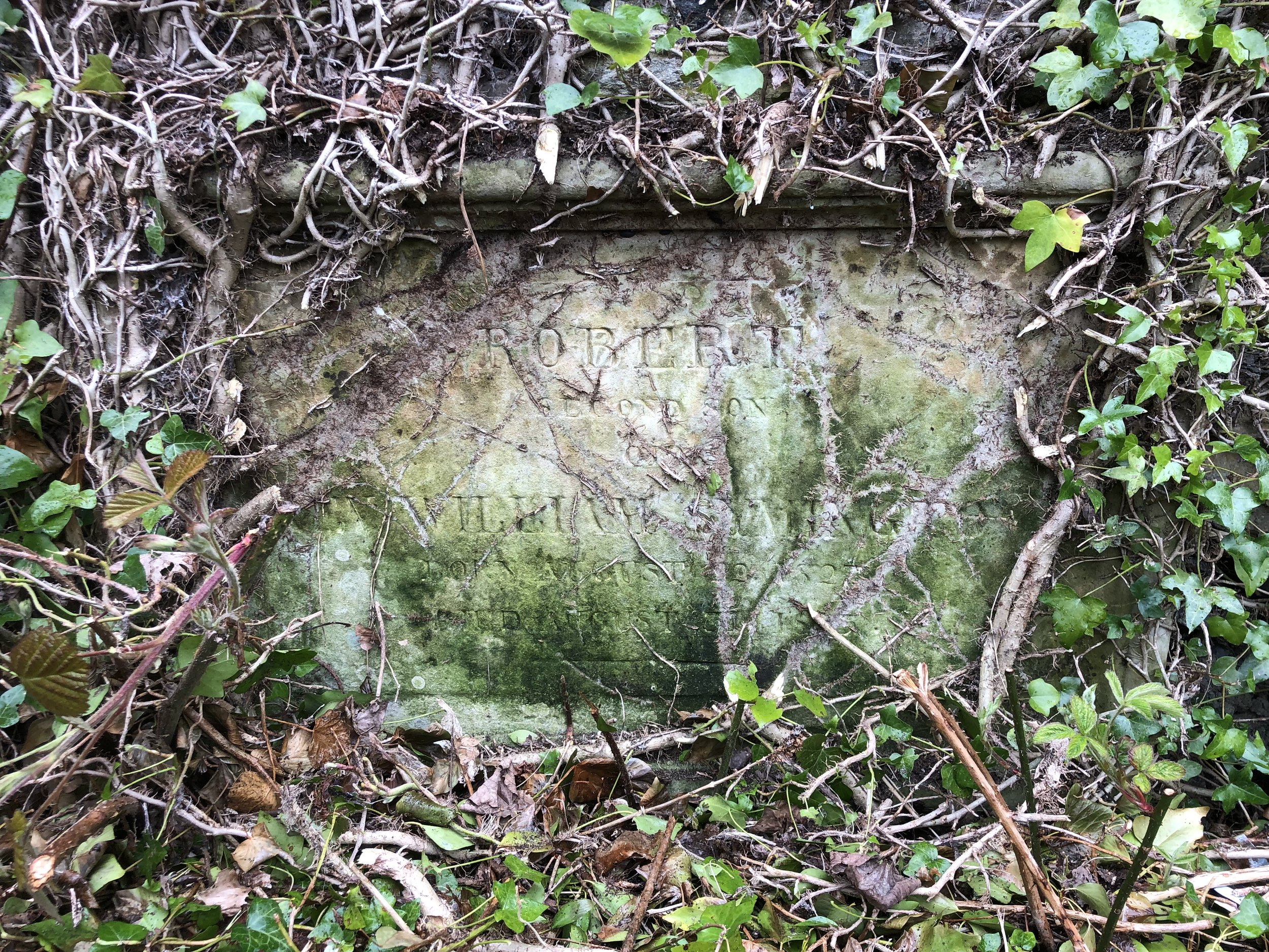 Robert's gravestone - built into the wall of the    Reformed Presbyterian graveyard