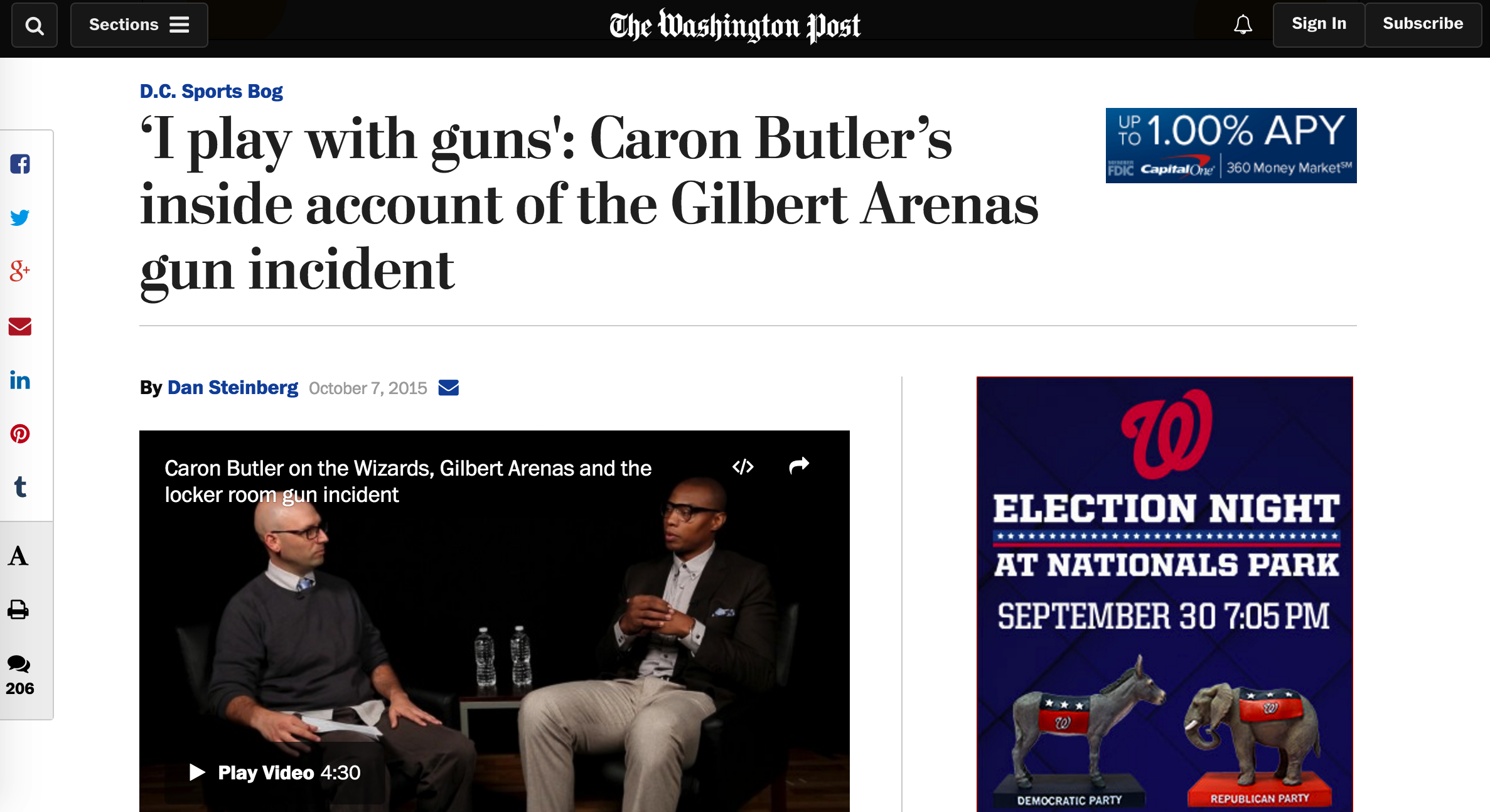Caron Butler visted washington post headquarters for a roundtable with writers and an on-camera interview prior to the release of his memoir in october 2015.