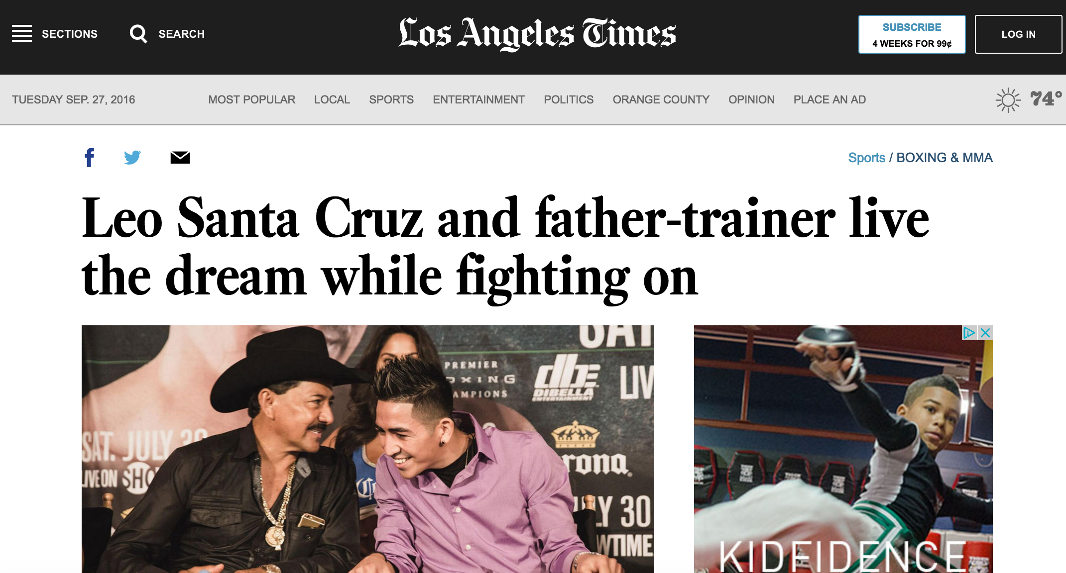 Leo Santa Cruz is featured in the la times ahead of his july 2016 fight against carl frampton about his father & trainer Jose's battle with cancer.