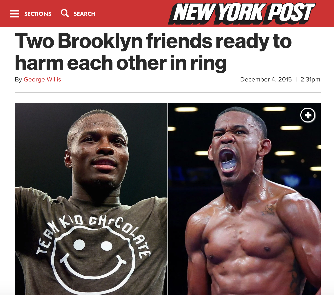 DaniEL Jacobs & Peter Quillin Are featured in the new york post prior to their december 2015 match up.