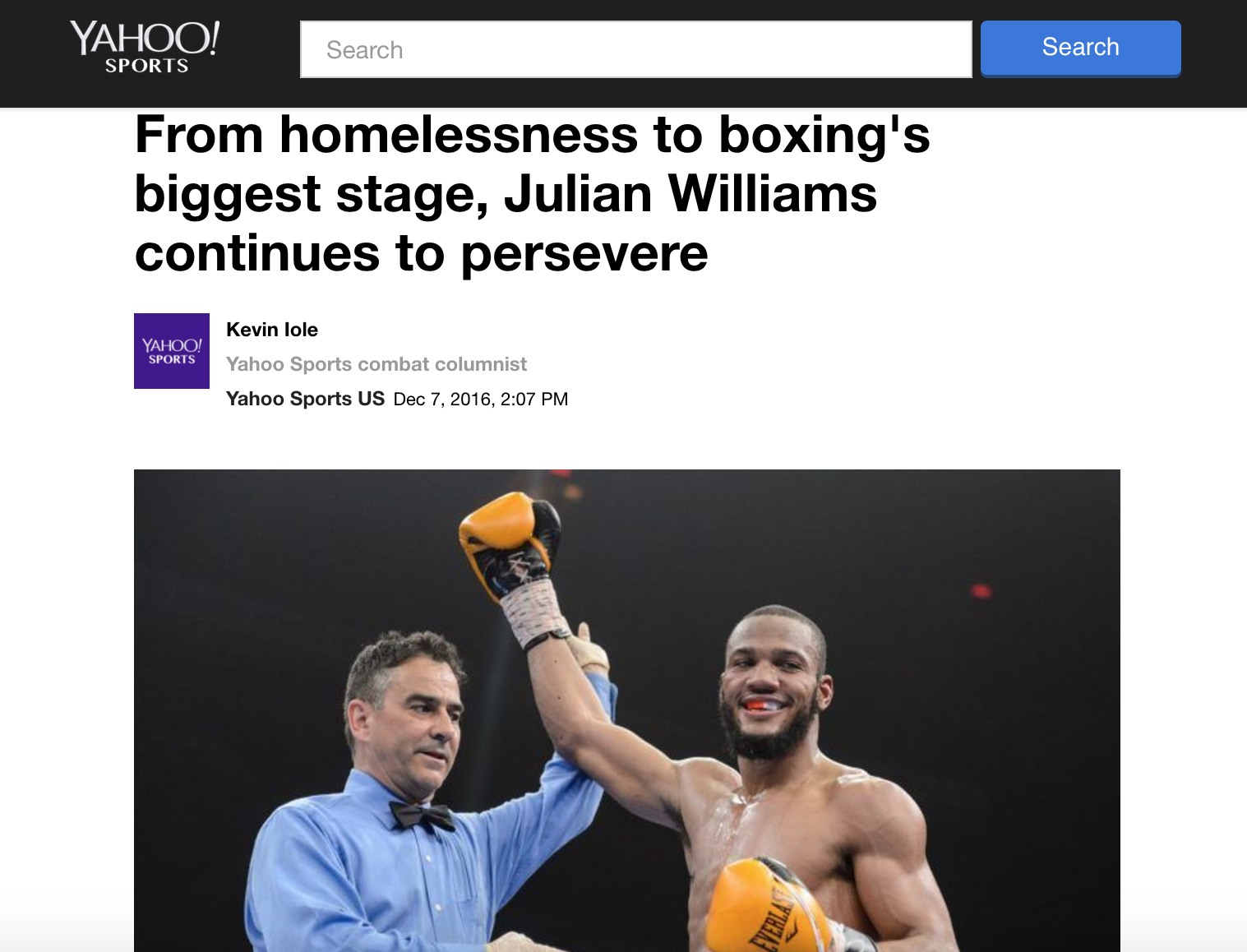 Julian Williams is featured on Yahoo! Sports ahead of his december 2016 against jermall charlo.