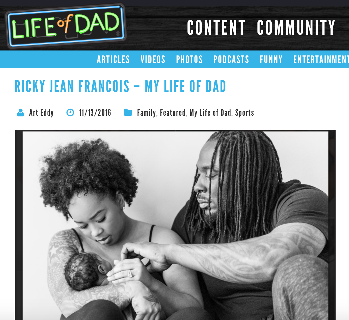ricky jean francois is featured on life of dad where he discusses becoming a father.