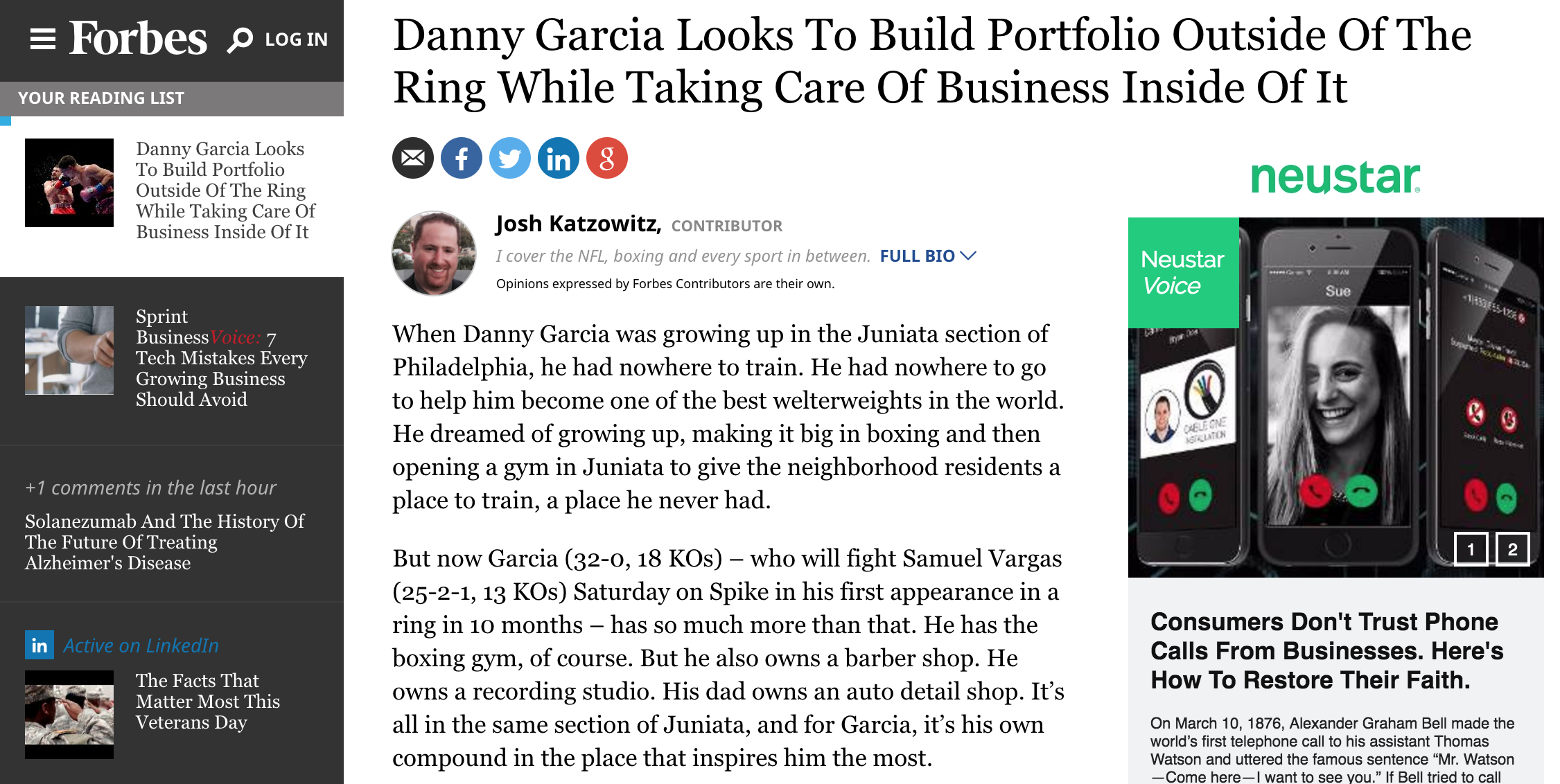 Danny Garcia speaks with forbes prior to his november 2016 fight against samuel vargas