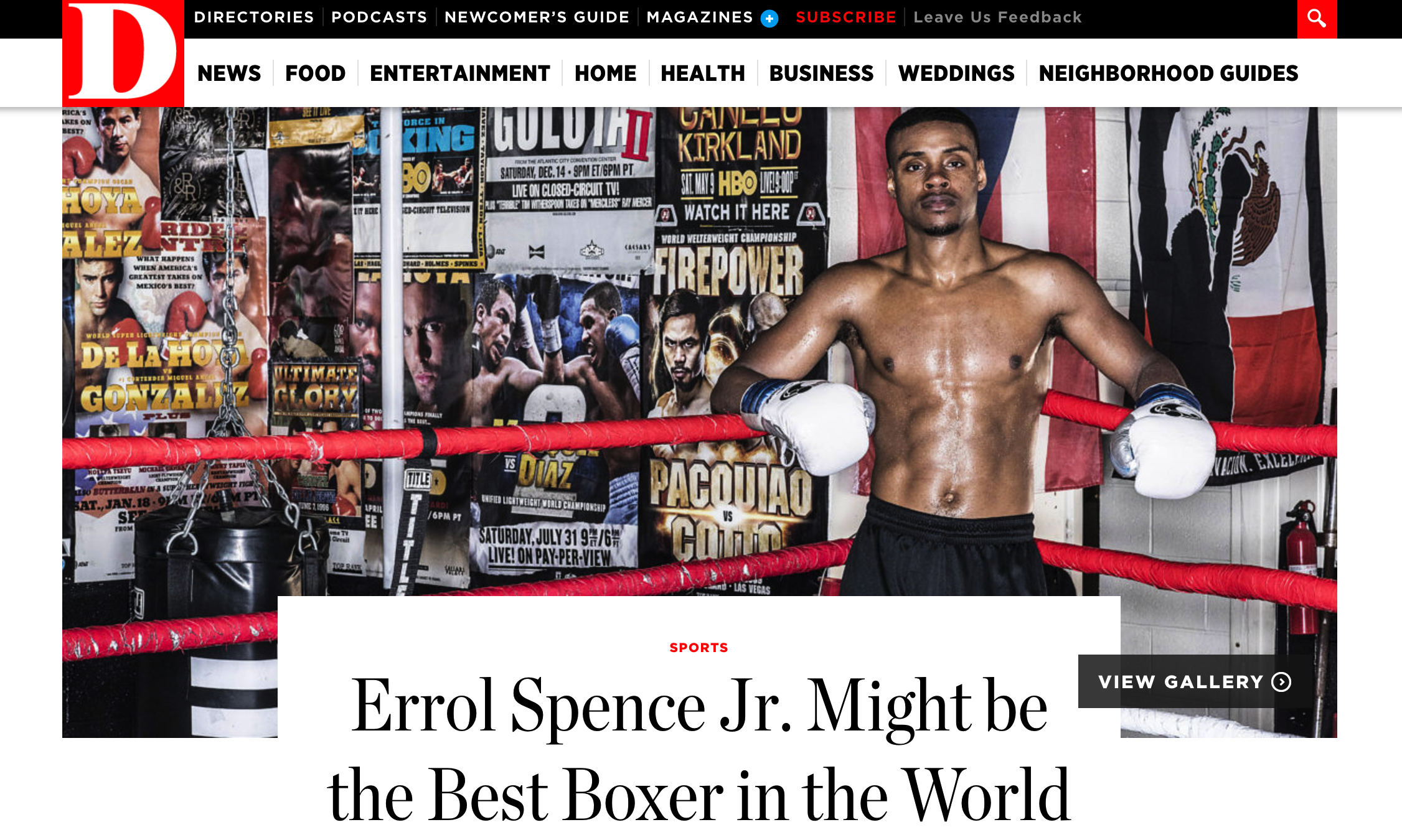 D MaGAZINE, a glossy published in dallas, texas, featured errol spence jr. prior to his first title fight on may 27, 2017.