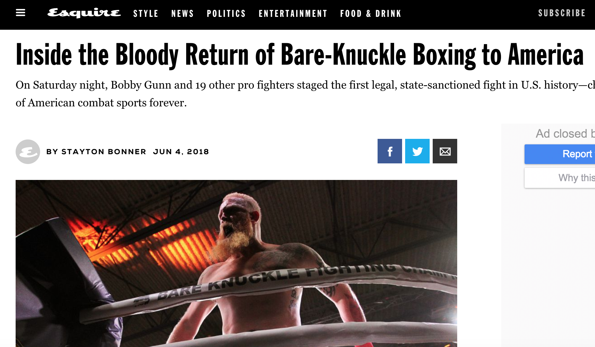 Esquire features an article about the bare knuckle fighting championship's first event in wyoming.