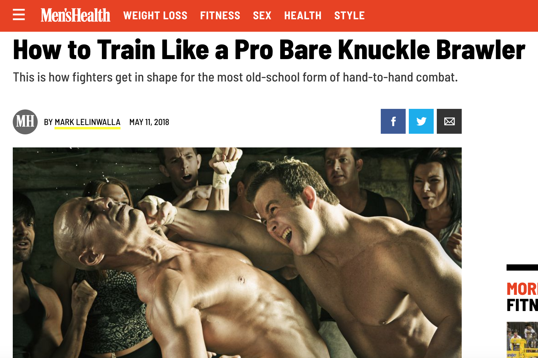 Mens Health covers the workout regiment of the pro bare knuckle fighters