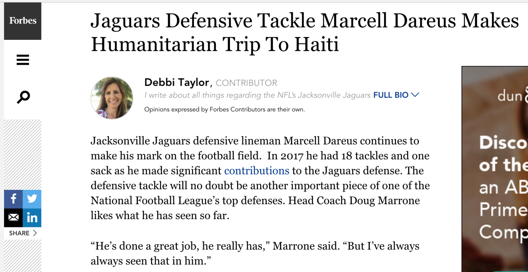 Marcell dareus is featured in forbes following his charitable trip to haiti.