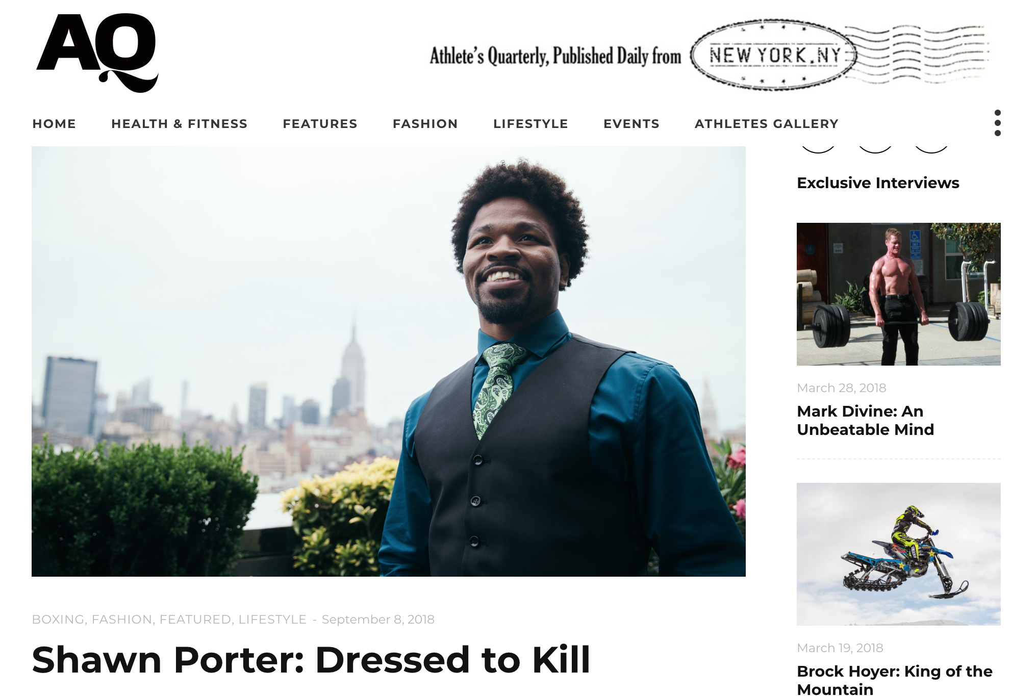 Athlete's Quarterly Goes In-depth with shawn porter on style, fighting & more