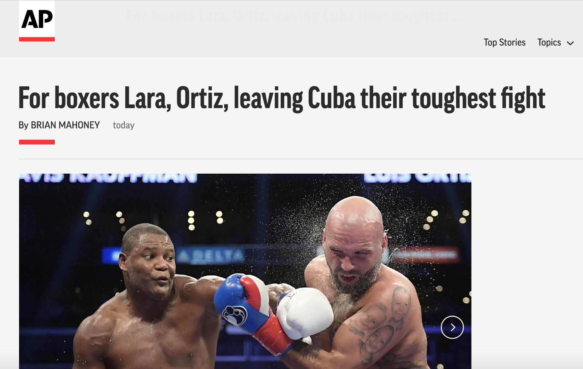 AP SPEAKS WITH ERISLANDY LARA AND LUIS ORTIZ ON LIFE AFTER CUBA