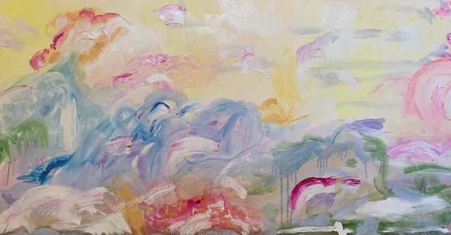 """""""Instant crush""""  20""""x40"""" oil on gallery wrapped canvas #workinprogress  #annajanesewell #abstractlandscape"""
