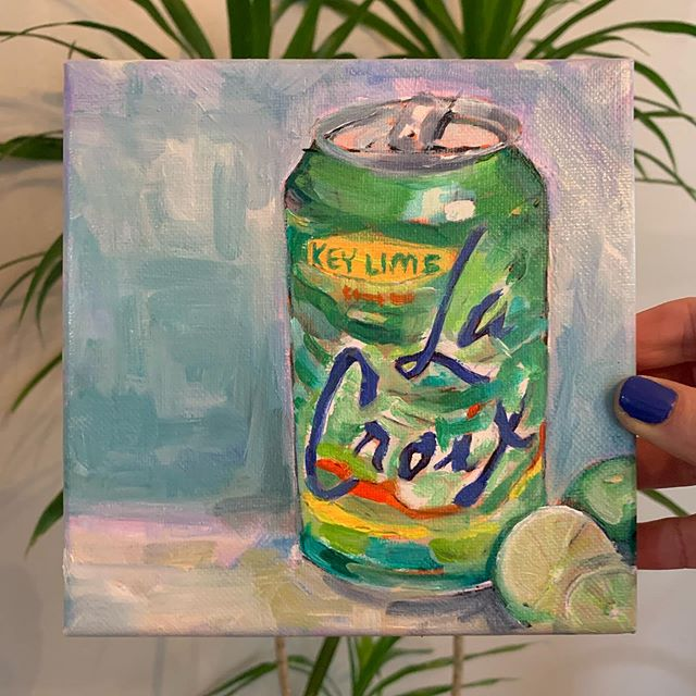 Major key 🔑  Comment below which flavor you'd like to see on canvas 👇  #oilpainting #lacroix #annajanepaints #raleighartist #stilllife #northcarolineartist #paintingoftheday #oiloncanvas #artistsoninstagram #lacroixwater #keylime