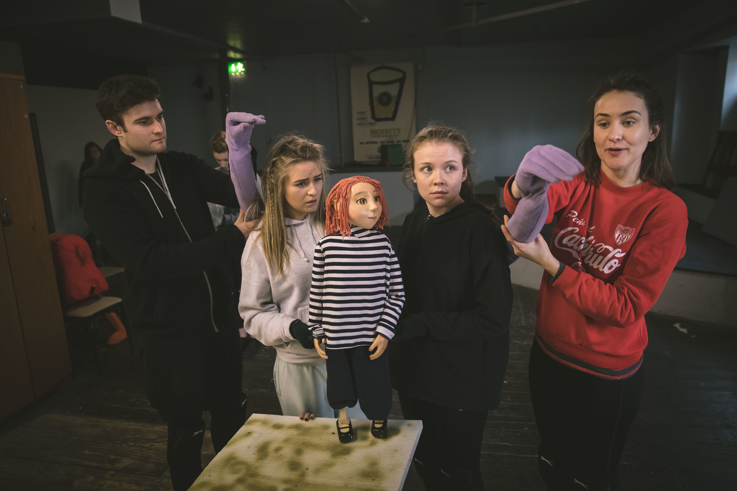 Amy tries out her puppetry skills in the sold out A Little Heart - Smock Alley 23rd, 24th Feb 2019