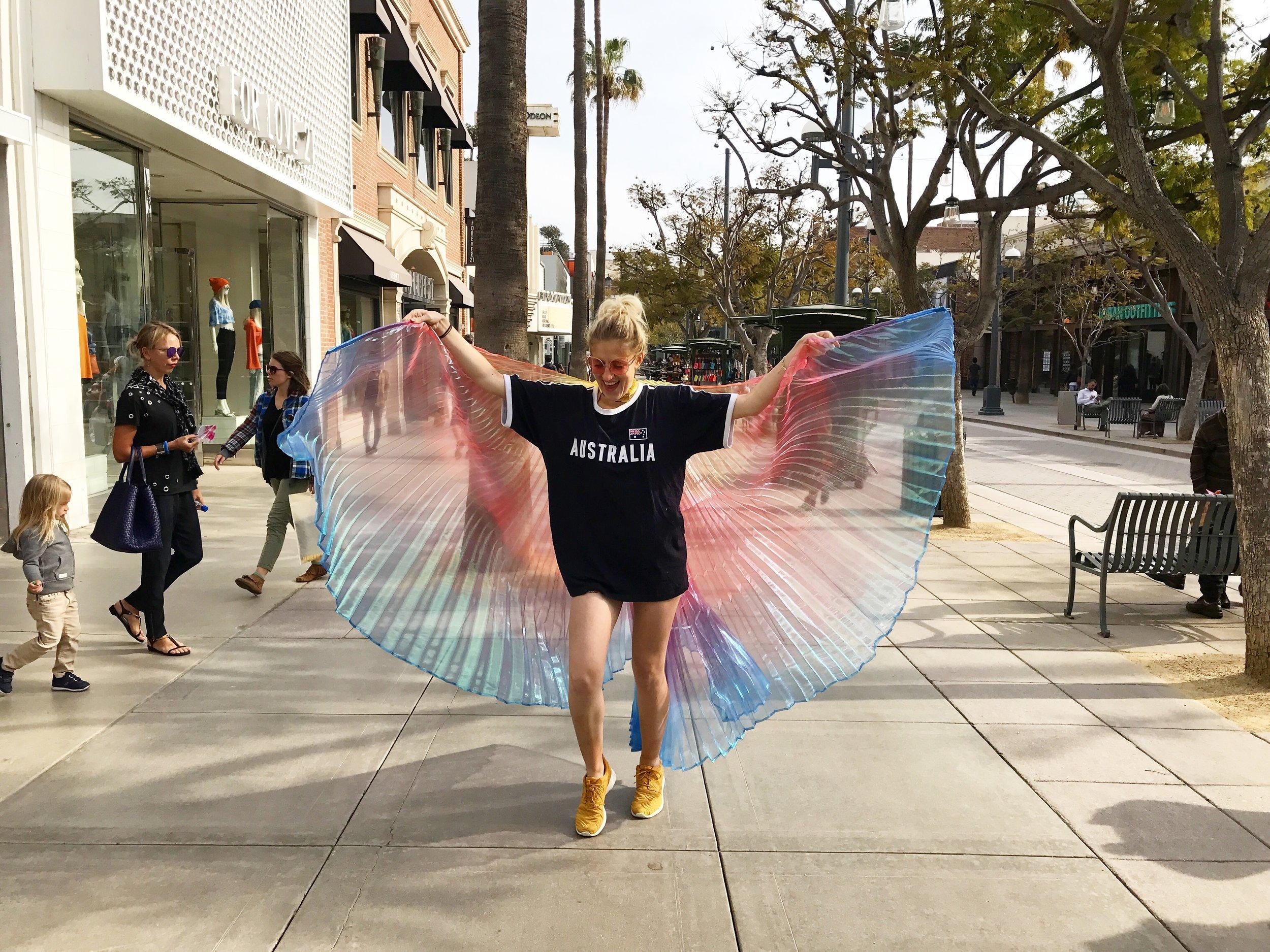 Got my angel wings in Santa Monica