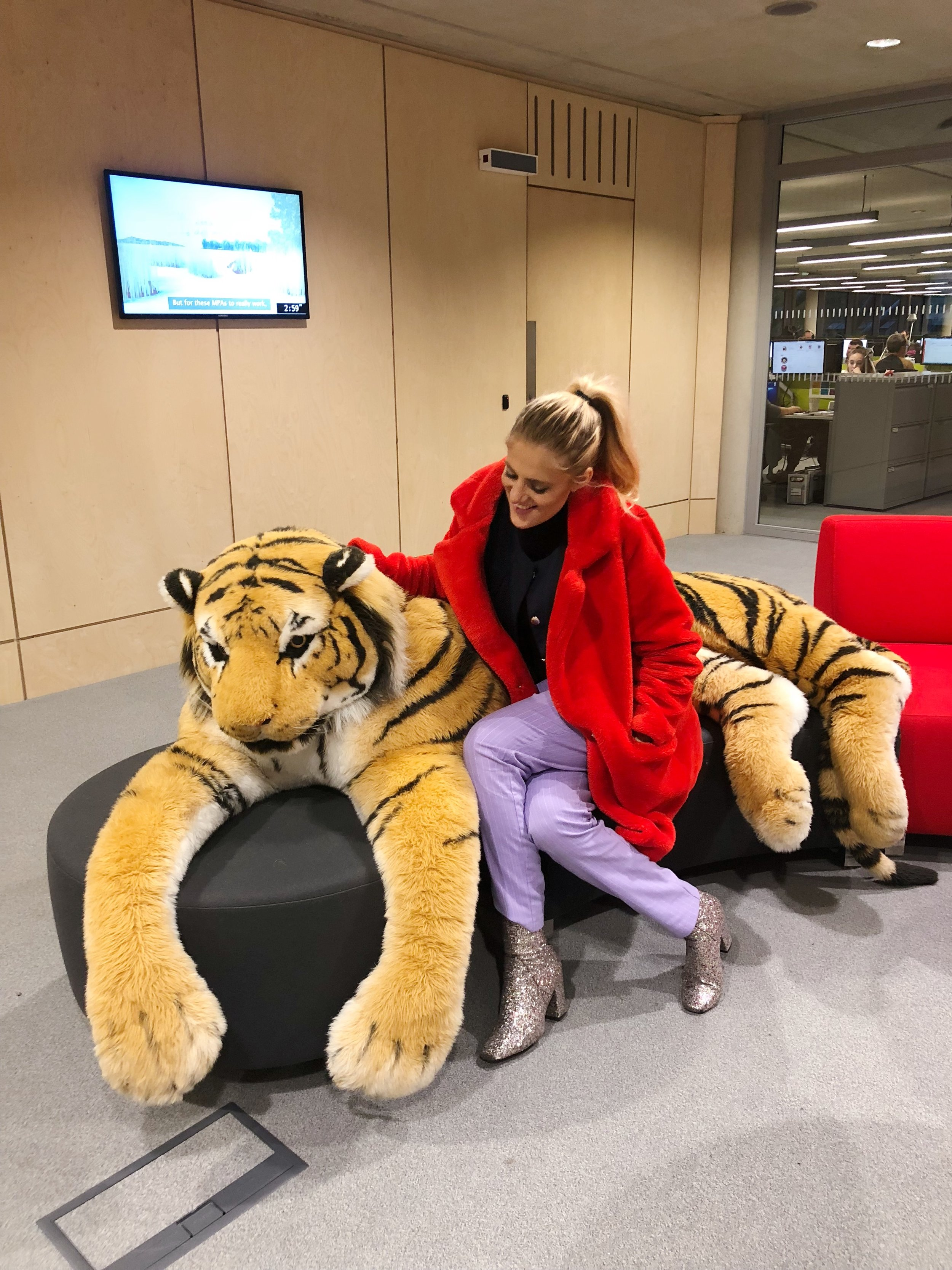 Sophie with the real-size tiger at WWF UK Head Office!