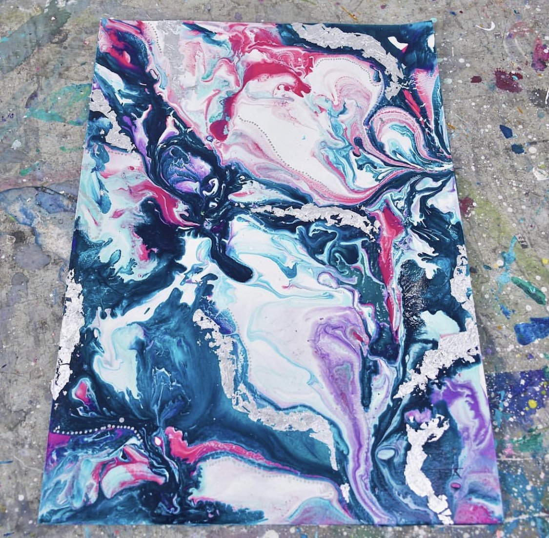 Cosmic Day Abstract with Silver Leaf